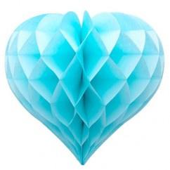 Licht blauwe Honeycomb hart 35 cm
