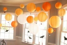 Lampion licht oranje 25 cm