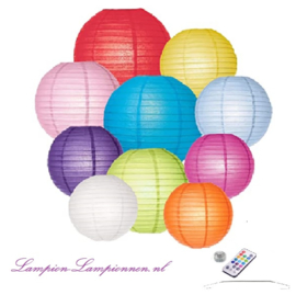 10 x Papier Lampions - Bunte Farbe Mix - Inkl. LED mit Fernbedienung - Inkl. Haken