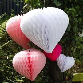 Licht roze Honeycomb hart 35 cm