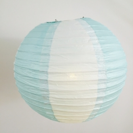 Lampion blue clair / blanc 35 cm