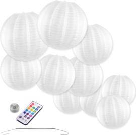 10 x Lampion en nylon blanc avec LED et télécommande avec crochets à ressort de suspension