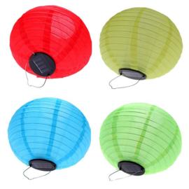 5 x Solar lampion rond blauw 35 cm (zonne-energie)