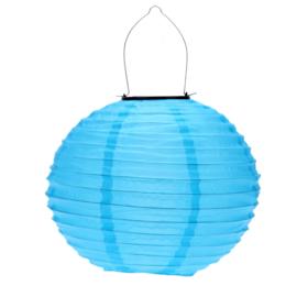 Lampion Solaire rond bleu  35 cm