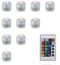 Set 10 x LED Lampen multicolor mit Fernbedienung