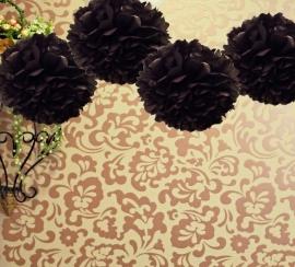 Zwarte Pompom 35 cm