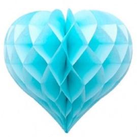 5 x Licht blauwe Honeycomb hart 35 cm
