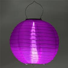 5 x Solar lampion rond paars 35 cm (zonne-energie)