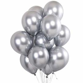 10 x metallic ballon zilver