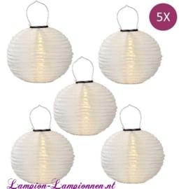 5 x Solar lampion rond wit 35 cm (zonne-energie)