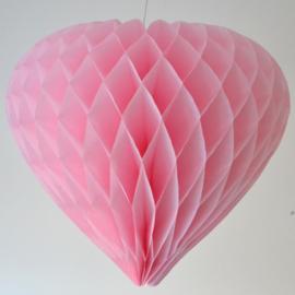 5 x Licht roze Honeycomb hart 35 cm