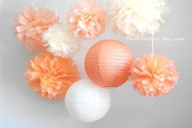 Honeycomb / Wabenball pfirsich orange 35 cm
