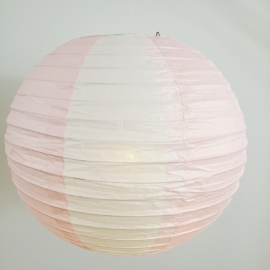 Lampion rose clair / blanc 35 cm