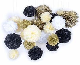 5 x Zwarte Pompom 35 cm