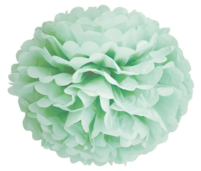 Pompon vert menthe 35 cm