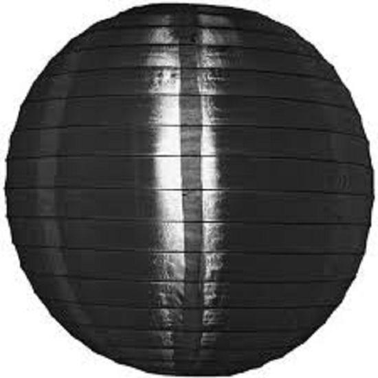 5 x Nylon lampion zwart 25 cm