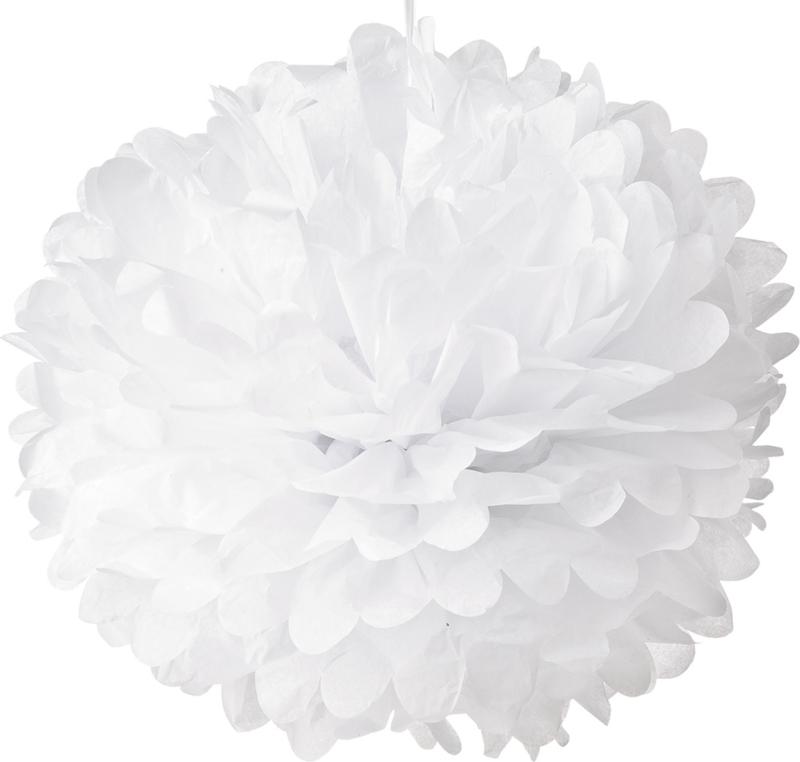 5 x Witte PomPom 35 cm