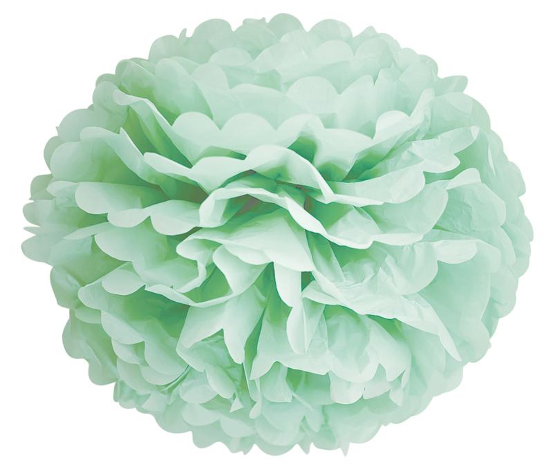 5 x Mint groene PomPom 35 cm
