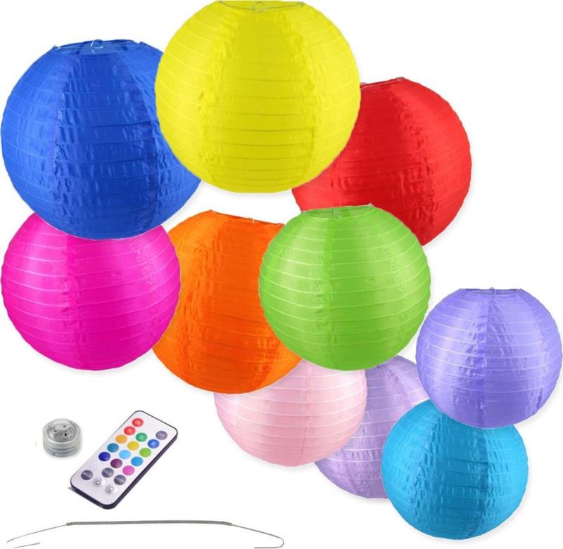 10 x Nylon Lampions - Bunte Farbe Mix- 25 und 35 cm - Inkl. LED mit Fernbedienung - Inkl. Haken