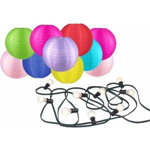 Partyverlichting met 10 nylon lampionnen diameter 25cm - voor buiten