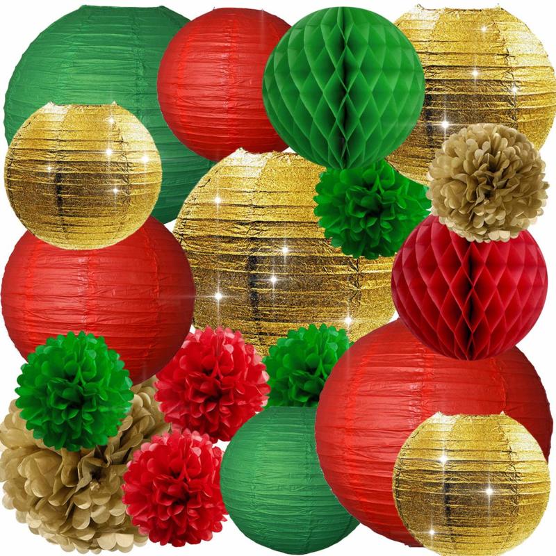 Combinatie pakket KERST -goud - rood - donker groen