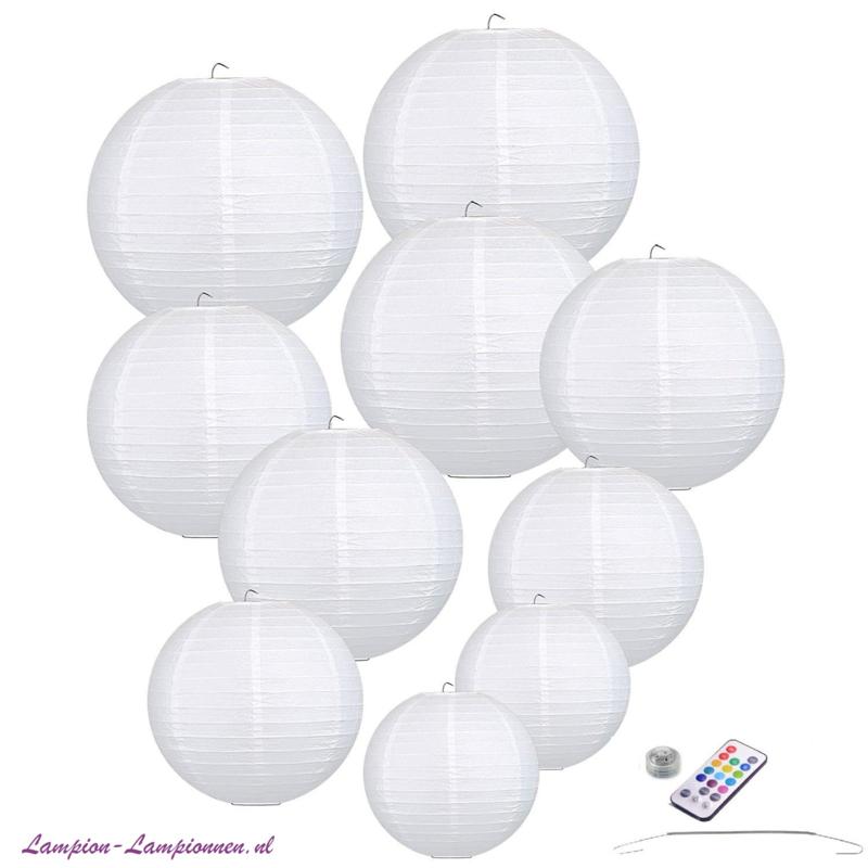 10 x Papieren lampion wit  incl LED met afstandsbediening incl ophang veerhaakjes