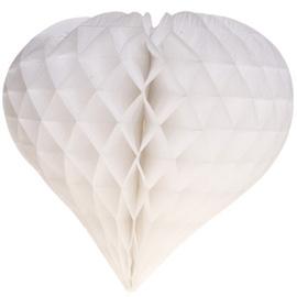 Witte Honeycomb hart 35 cm