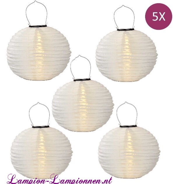 5 x Solar Lampion rund weiß 35 cm (Solarenergie)