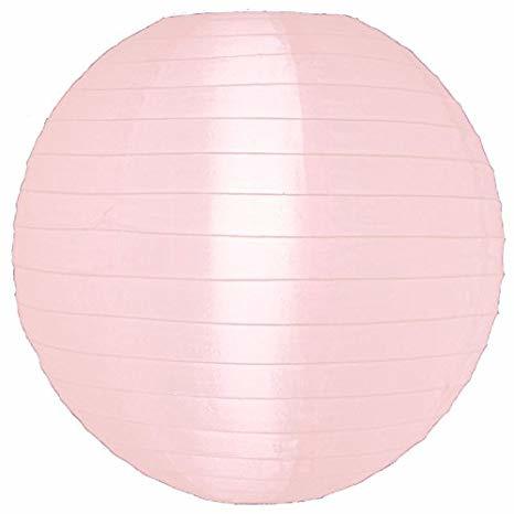 Nylon lampion licht roze 35 cm