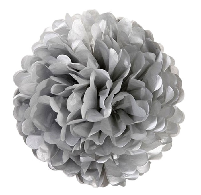 5 x Zilveren PomPom 35 cm
