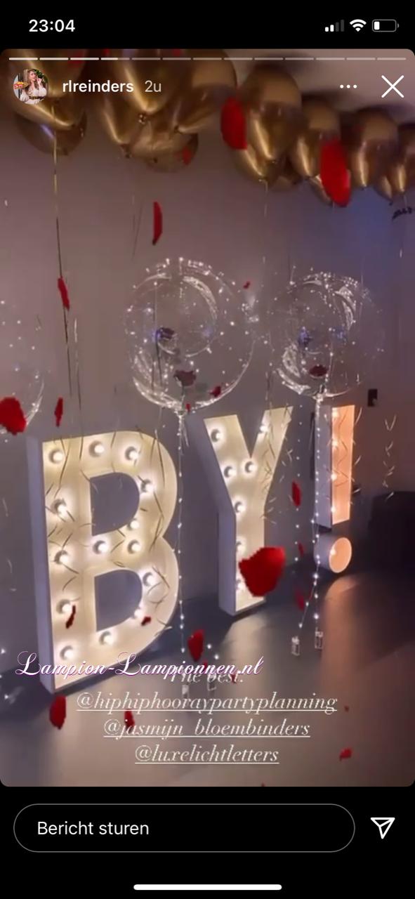LED Ballon XXL warm wit 60 cm met roos, verlichte helium ballon, balon met lampje, feest ballon, led unit ballon huwelijk decoratie eventversiering, tafel versiering mit led avec LED luftballon mit Rose warm weiß Reinders babyshower 2