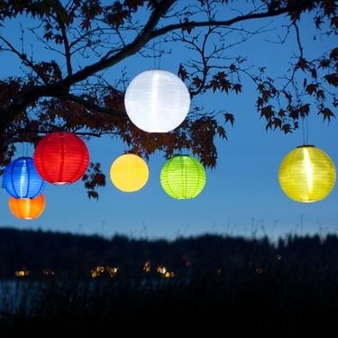 Lanterne solaire ronde colorée à LED, lanternes solaires, lanterne en nylon à l'extérieur, énergie solaire, énergie solaire, énergie solaire, énergie solaire, lanternes à panneaux solaires, bandes de papier bunte faren farbige pour jardin extérieur jardin jardin rouge bleu jaune jaune orange vert jaune jaune rose