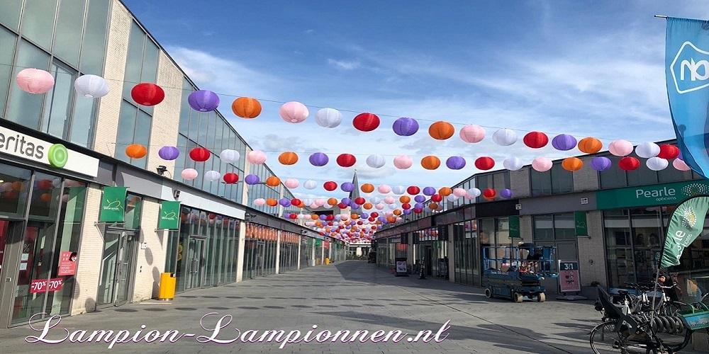 1200 Nylon lampionnen in straten winkel straten België, weerbestendige winkelstraat versiering decor