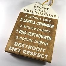 Tekstbord Recept voor vriendschap