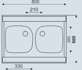 Dubbele spoelbak 80cm x 60cm
