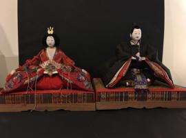 Prachtig paar Kokin-bina poppen (Keizerspaar) uit de EDO-periode ± 1880 Japan.