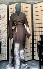 """Handgemaakte zijden kimono """" Japanse taferelen in landschap"""""""