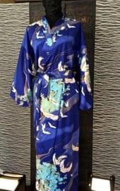 Katoenen kimono indigo blauw met kraanvogels, zwart met bambou en waaiers.