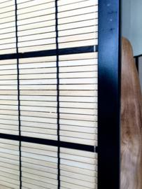kamerscherm 4 panelen met bambou houten lamellen 1.80 hoog