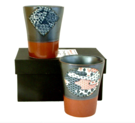 Set (2) Japanse thee / koffie mokjes in kado doosje