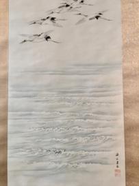"""""""flying cranes over the sea """" zijden rolschildering"""