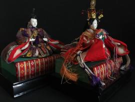 Keizer en keizerin poppen Taïsho periode ± 1925 Hoogte 21 cm.