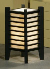 "Tafellamp ""Edo"" , nieuwe collectie Hoogte 34 cm - 19-19 cm. Hout met verstevigd Japans papier."