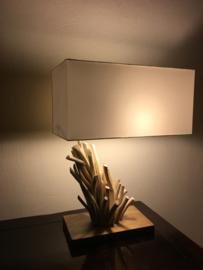"""Lamp """" Mokuzai 木材"""" met echt hout en stoffen kap , Nieuwe collectie"""