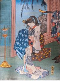 "Antieke ( ± 1860) Japanse houtsnede in luxe lijst met passe-partout ""Geisha in haar kleedkamer "". Hiroshige"