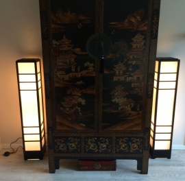 Nikko vloerlamp houten frame met verstevigd Japans papier.H.120 cm.