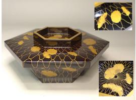 Antieke 6 kantige doos met deksel in Japans lakwerk