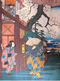 "Antieke ( ± 1860) Japanse houtsnede in luxe lijst met passe-partout ""Rendez-vous onder de kersenbloesem"" "". Hiroshige"