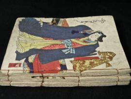 Antieke stripboekjes uit Japan uit de EDO-periode ± 1880, prentkunstenaar Kunisada
