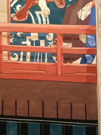 """Schilderij """" Geisha's uitkijkend op de keizerlijke tuin met kersenbloesem"""" 200-160 cm."""